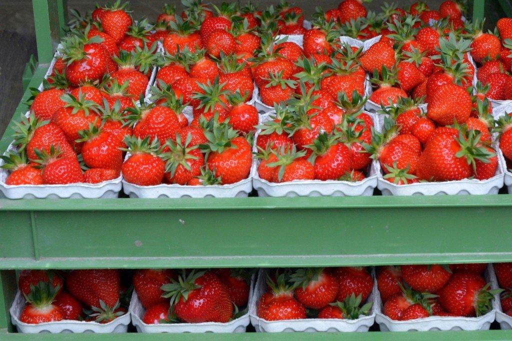 Erdbeeren in Kiste