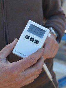 Temperaturmessung im Boden nach dem Dämpfen