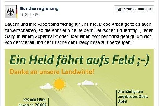 Facebook-Screenshot: So dankt die Bundesregierung den deutschen Bauern.